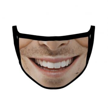 image of an ear loop face mask with a smile design