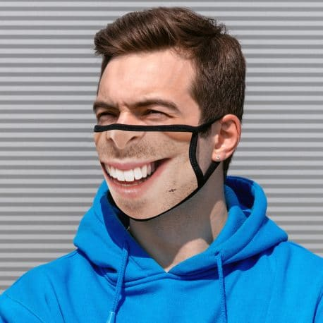 image of a male model wearing an ear loop face mask with a smile design