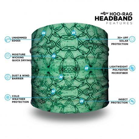green geometric patterned headband features list
