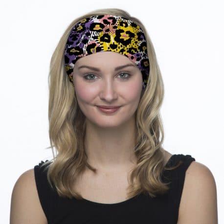 leopard patterned headband model shot