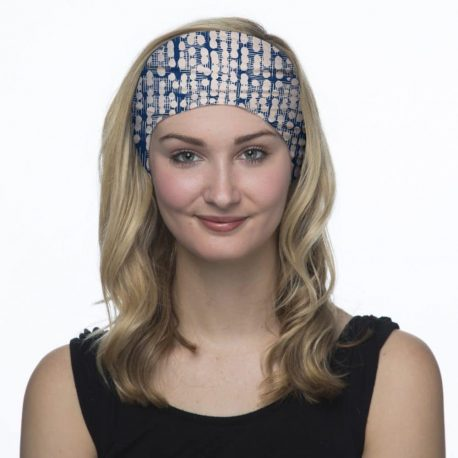 blue and white abstract headband model shot