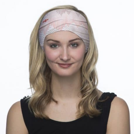 pink and gray zig zag headband model shot