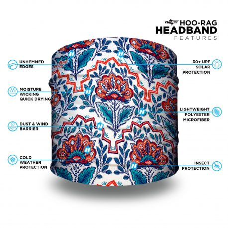 red and blue floral headband features list