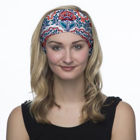 red and blue floral headband model shot