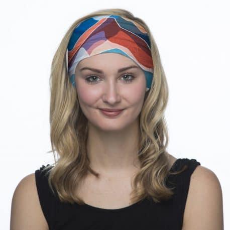 blue and orange mountain headband model shot