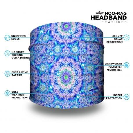 blue pink mandala headband with features list