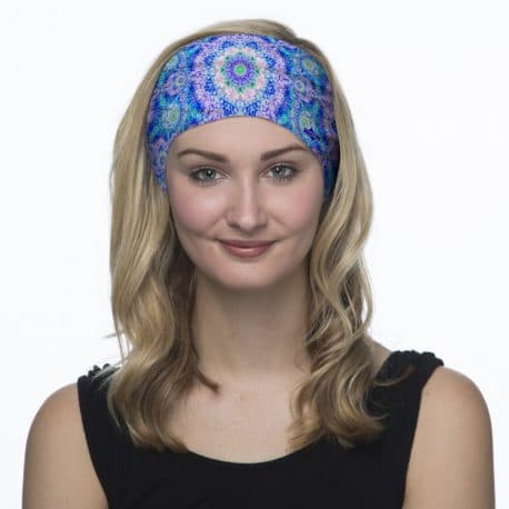 blue pink mandala headband model shot