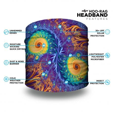 peacock colored paisley sports headband with features list