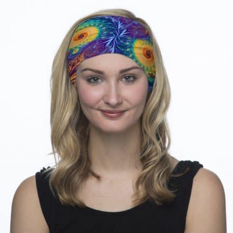 peacock colored paisley sports headband model shot