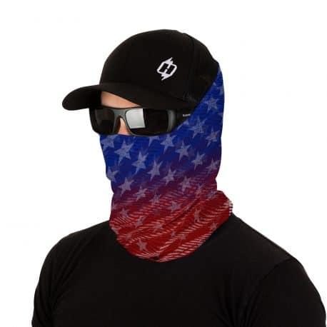red white and blue american flag bandana model shot