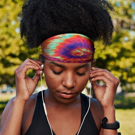 traditional tie dye design on a sports headband