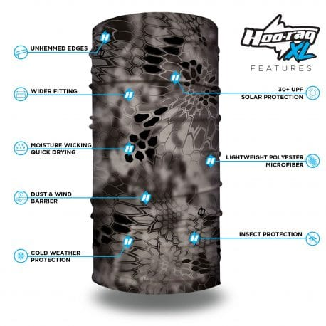 image of a tubular bandana in the kryptek raid camo design with list of product features