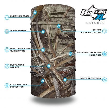 image of a tubular bandana in the realtree max5 camo design with list of product features