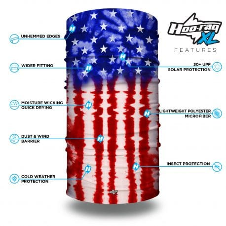 extra large tie dye american flag bandana features list