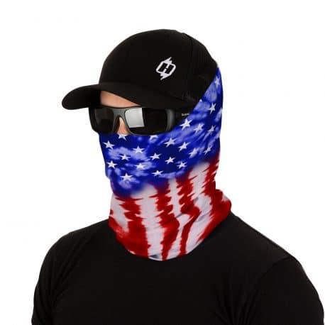 tie dye american flag bandana model shot