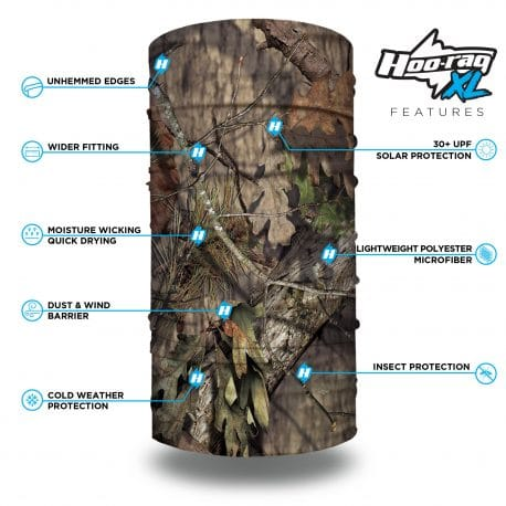 camo neck gaiter in the mossy oak break-up country camo style features list