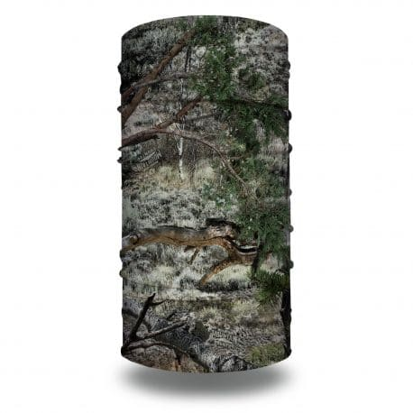 camo neck gaiter in the mossy oak mountain country camo style