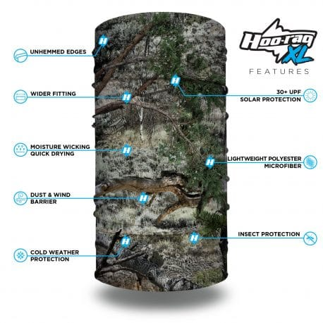 camo neck gaiter in the mossy oak mountain country camo style features list