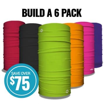 six tubes of tubular bandanas in different colors with badge showing savings of seventy five dollars