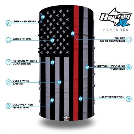 extra large thin red line american flag bandana features list