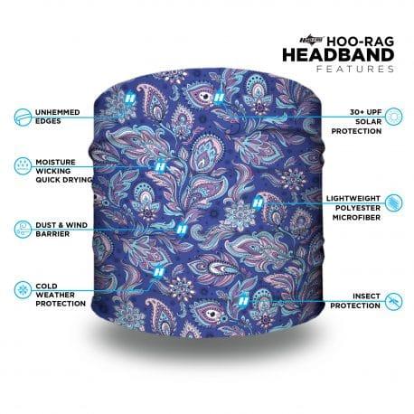 blue purple headband features list