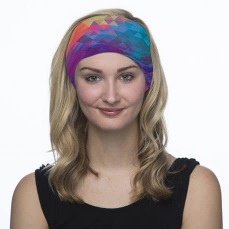 neon triangle headband model shot