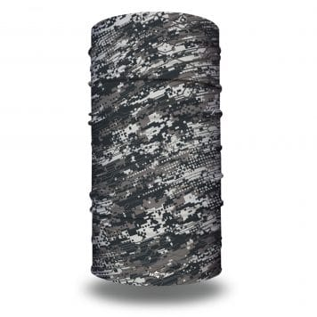 image of an extra large tubular bandana in shades of gray