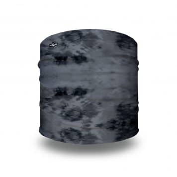 black and gray splattered pattern on a sports headband