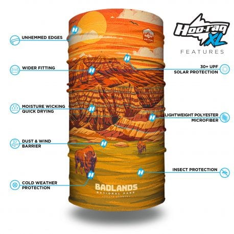 extra large south dakota badlands neck gaiter bandana with features list