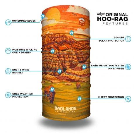 south dakota badlands neck gaiter bandana with features list