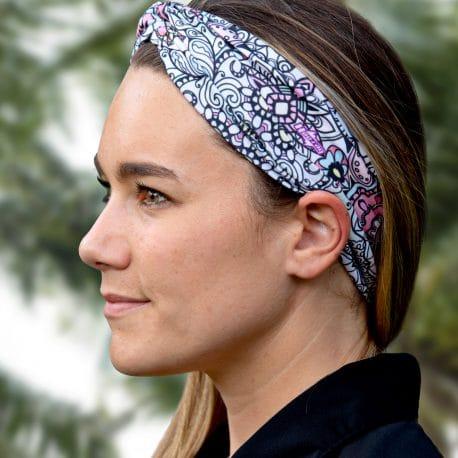 model shot of a Pink Mandala Twisted Knot Headband