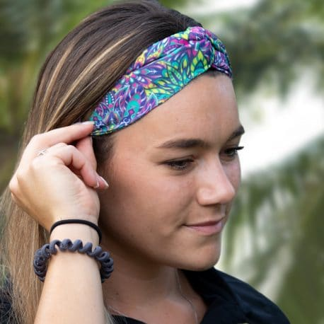 model shot of a Pink and Green Flower Twisted Knot Headband