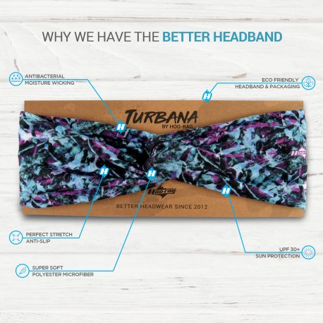 Purple and Blue Tropical Flower Twisted Knot Headband on a display card