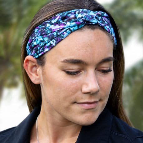 model shot of a Purple and Blue Tropical Flower Twisted Knot Headband