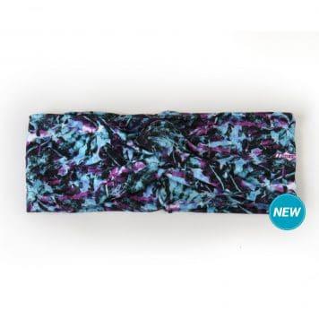 Purple and Blue Tropical Flower Twisted Knot Headband by Hoo-rag