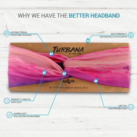 Pink and Purple Sunrise Twisted Knot Headband on a display card