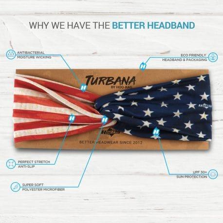 American Flag Twisted Knot Headband on a display card