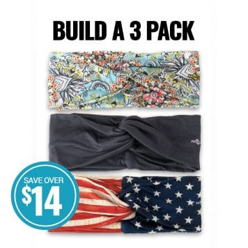 image showing three twisted knot headbands and detailing how you can buy three in a pack and save fourteen dollars