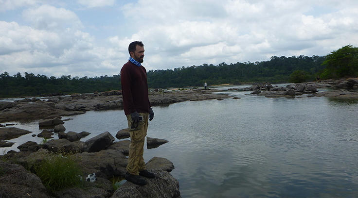 Field Biologist Jeremy Tiemann rockin' the rag on the back of the Xingu River in Brazil.